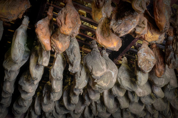 Hams hanging in the Smokehouse at Dardens