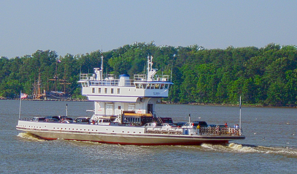 The Jamestown-Scotland Ferry is a free ride from Jamestown to Surry across the James River.